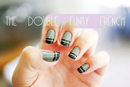 Simple Double Funky French Nail Art Tutorial