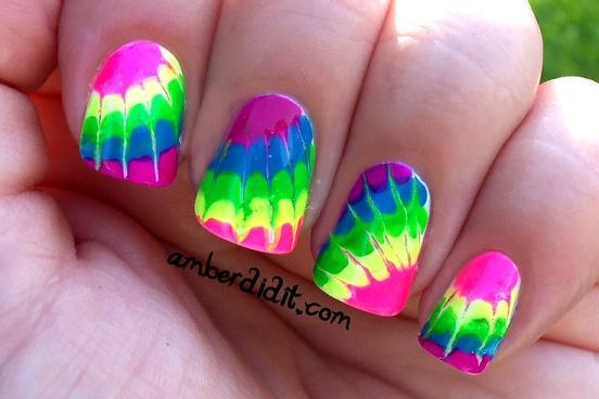 - Neon Tie Dye Nails