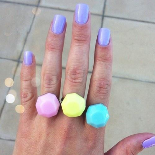 pastel rock rings