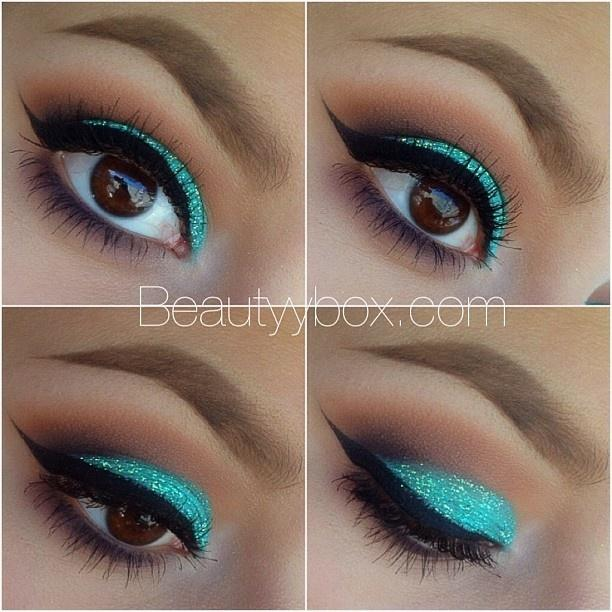 how to apply the perfect look using teal makeup and glitter.