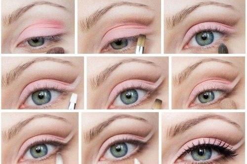 Beautiful pink eye makeup step by step