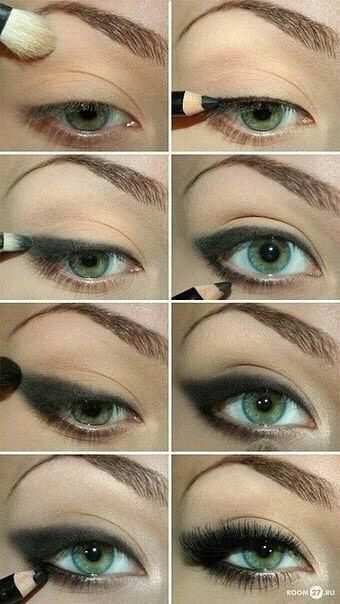 Blending eyeliner with makeup brush