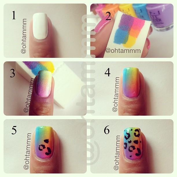Rainbow Cheetah Print Nails