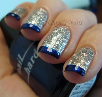 blue and silver blue tips with silver lining and clear polish for rest of nail