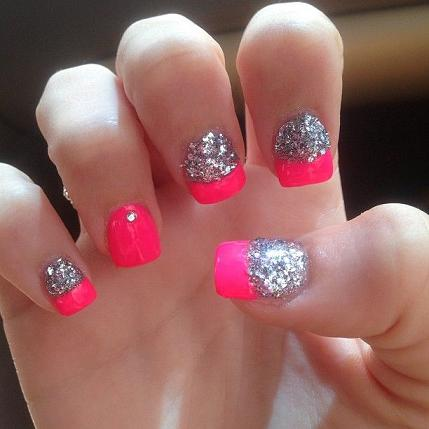hot pink nails with diamonds - photo #46