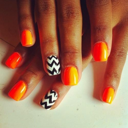 Neon Orange And Black Nails Orange Neon And Black And