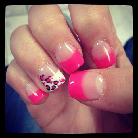 Hot pink tips and cheetah print nail design. - Hot Pink Tips