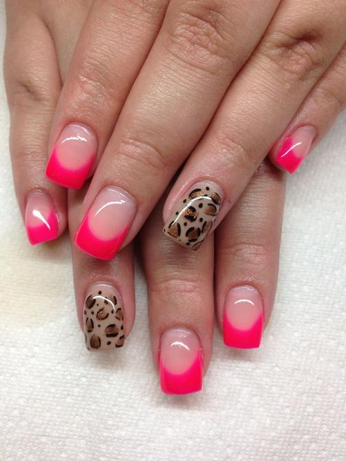 Gel nails with hand drawn design using gel By Melissa Fox.