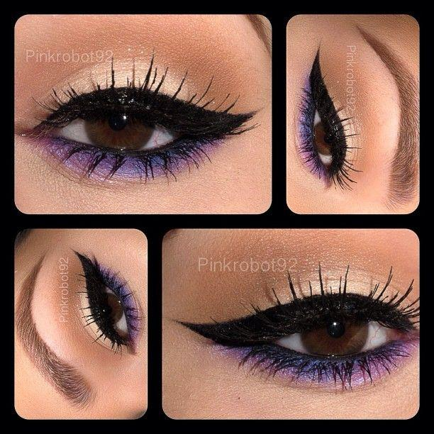 Neutral and winged eyeliner with purple eyeshadow