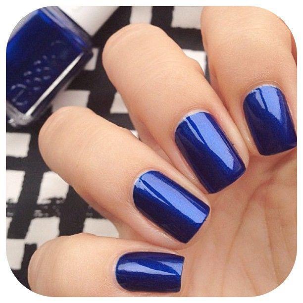 Glossy Blue Nails