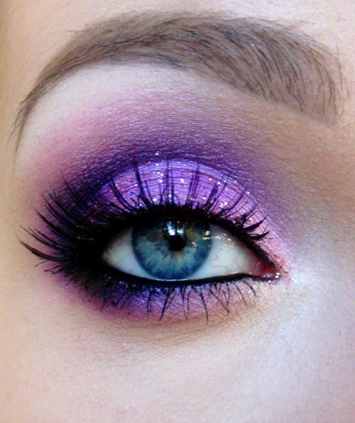 Beautiful and vibrant purple eyeshadow.