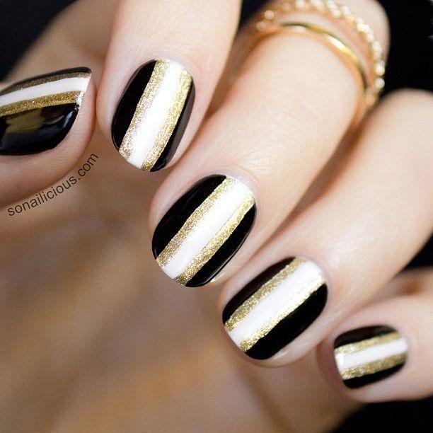 Black white gold sonailicious nail art prinsesfo Images