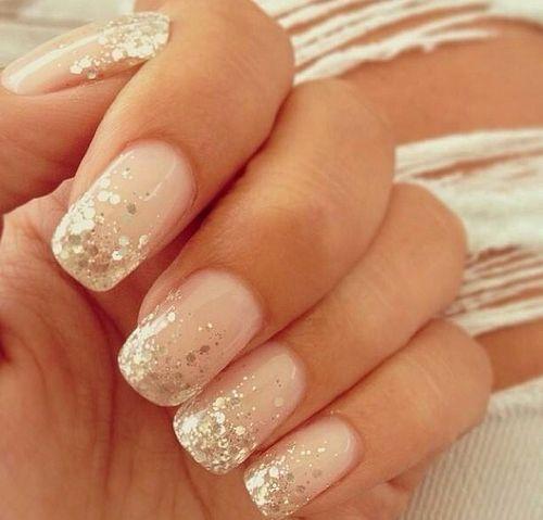 Pink And Gold Glitter Nail Polish Pink Glitter Nails so Cute