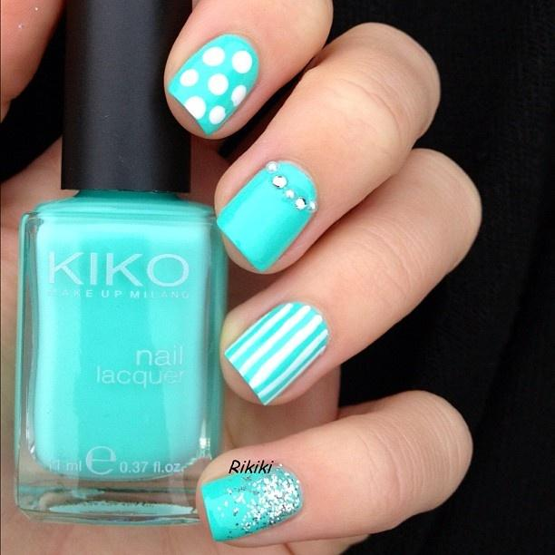 Turquoise And Blue Nails