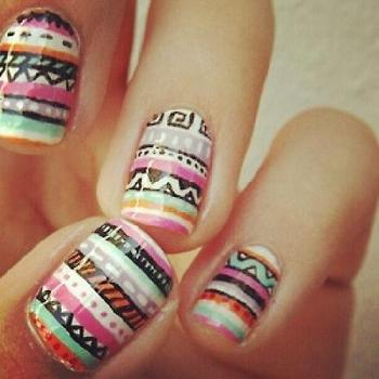 colorful print nails for spring & summer
