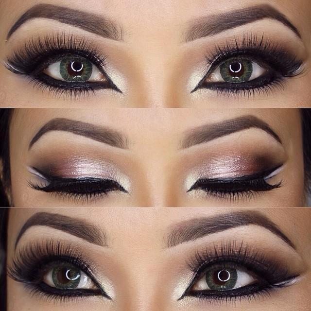 Brows, ebony Lashes, top judy bottom christy Eyeliner with shiny green eyes