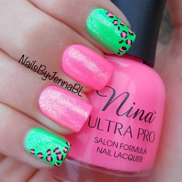 Lovely pink gradient and mint green neon nails from nailsbyjennabl. - Lovin' These