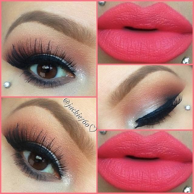 Soft brown eyeshadows and a bright red lip by #dailyfashforfashions