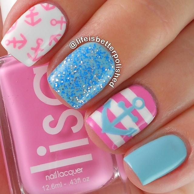 Girly Anchor Nails From