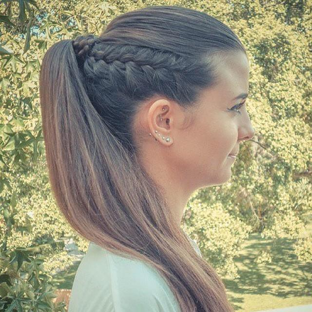 Beautiful Side Swept French Braids Form A Stylish Side Ponytail In Grey Hair