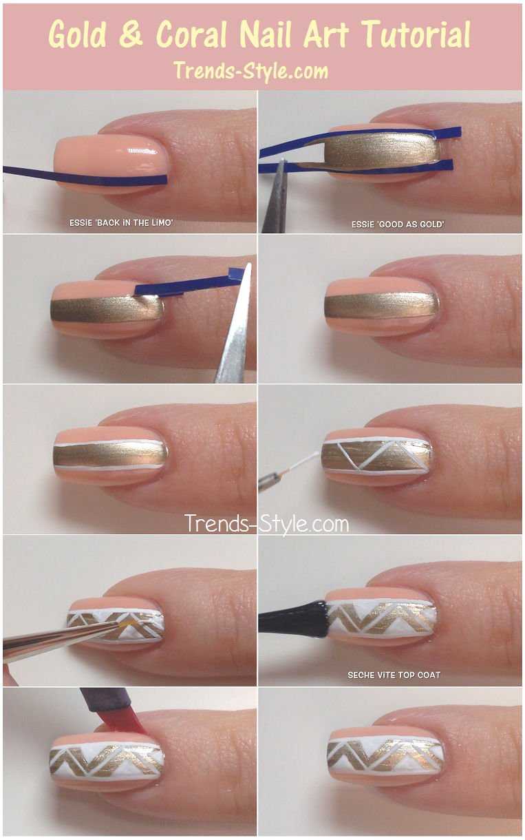 Gold & Coral Nail Art Tutorial