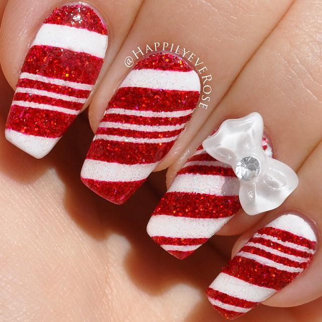 candy cane nails - Candy Cane Nail Art