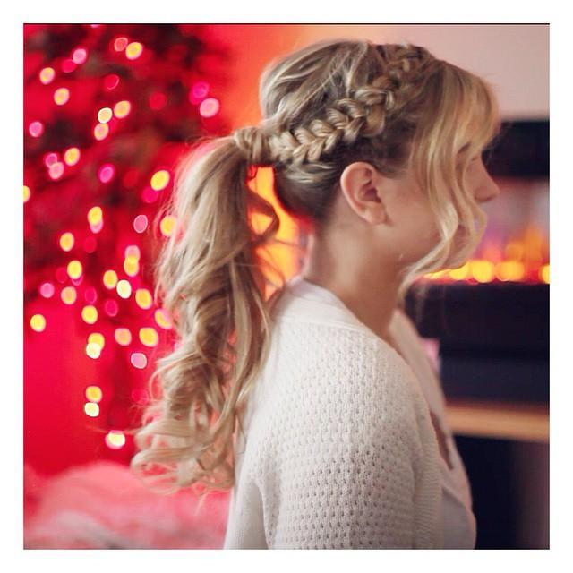 dutch braid + ponytail