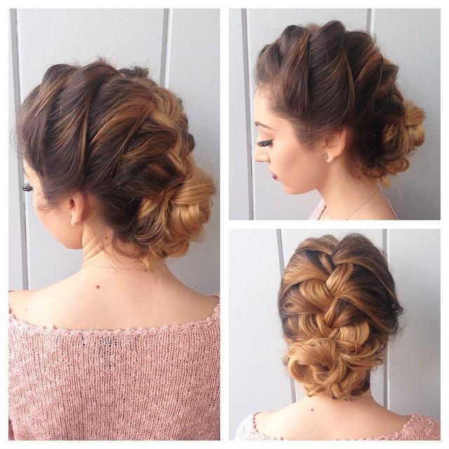 beautiful braid bun updo