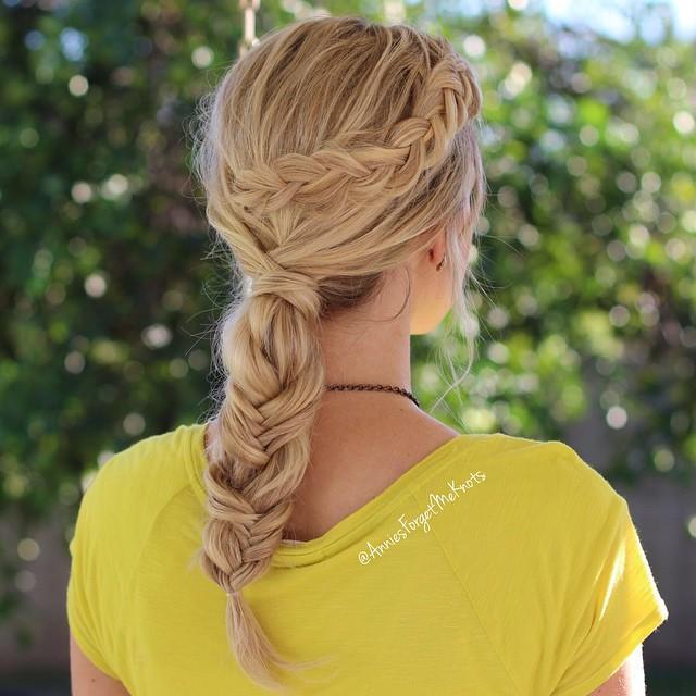 mixed braided ponytail