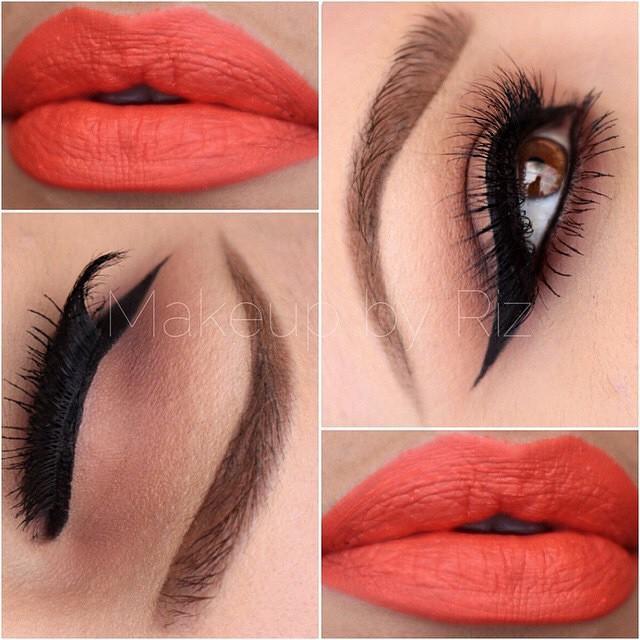 A sleek line from @makeupbyriz using anastasiabeverlyhills single eyeshadows in Burnt orange, Birkin and smoke.