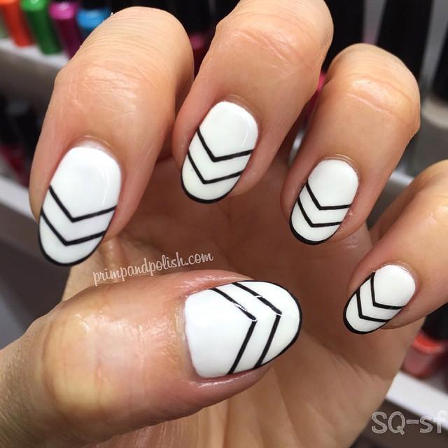 Black And White Gradient Nails Geometric Nails White Black