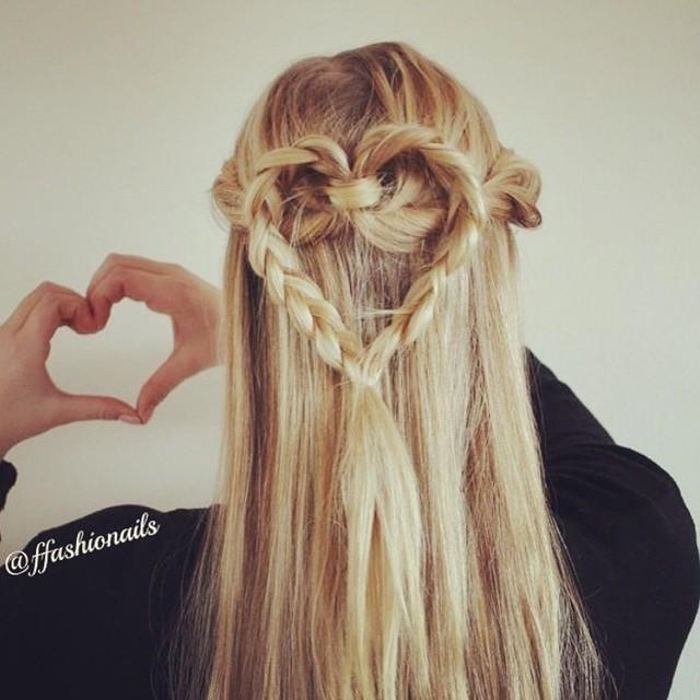 half up heart braid