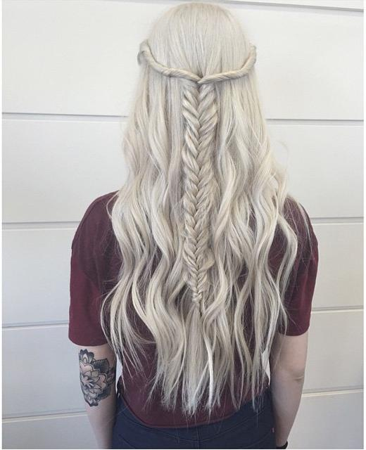 half up icy blonde