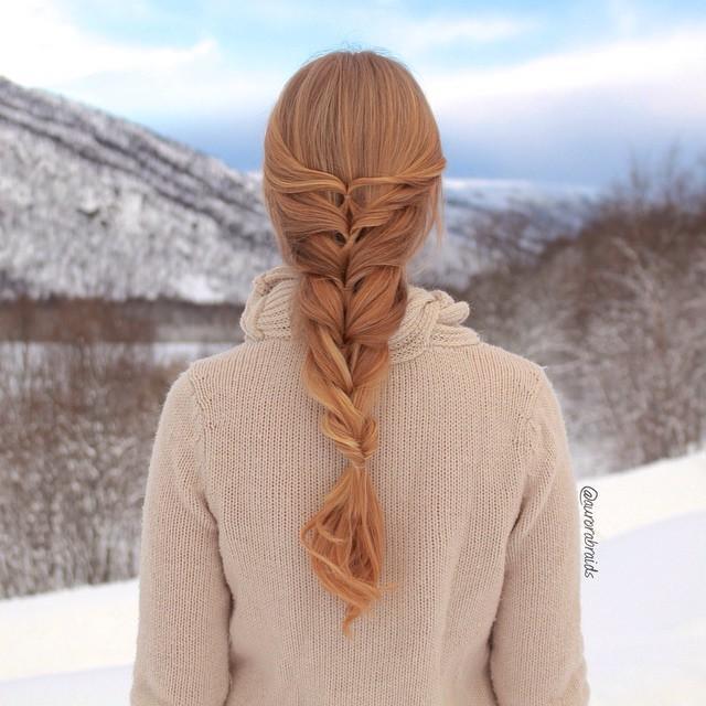 layered twist around hair