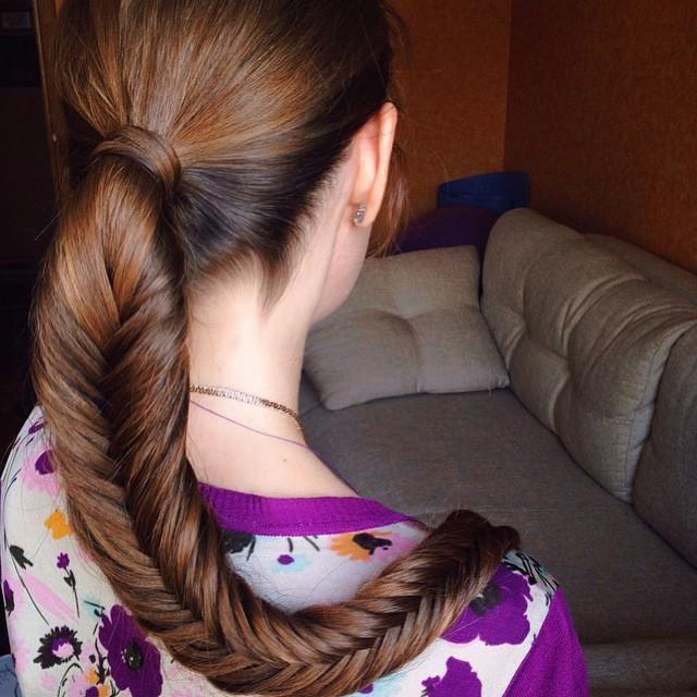 ponytail fishtail braid