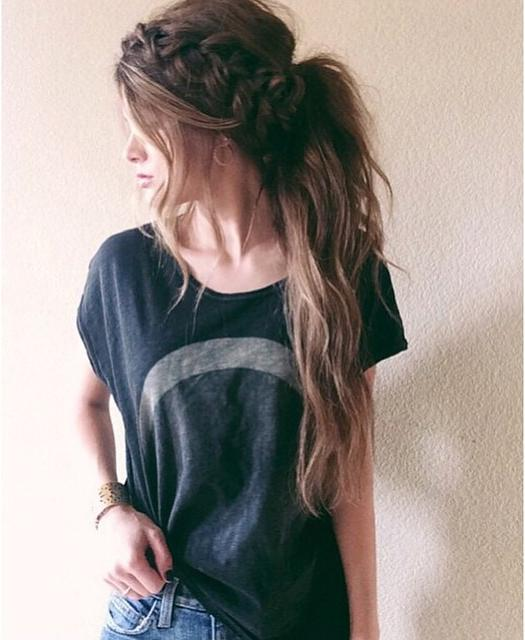crown braid messy ponytail
