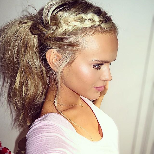 merged dutch braid messy ponytail