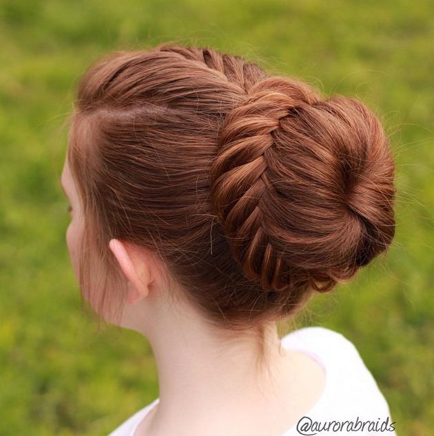 French fishtail into a lace fishtail bun