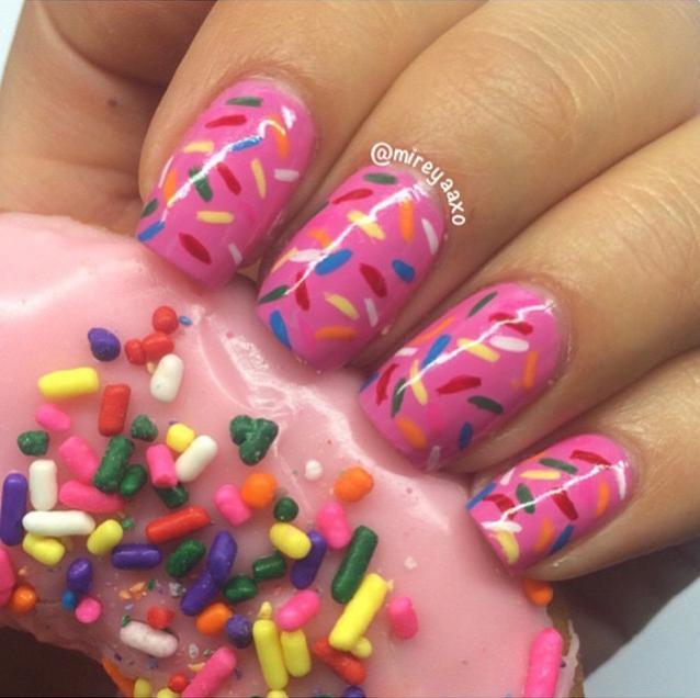 donut inspired sprinkle mani