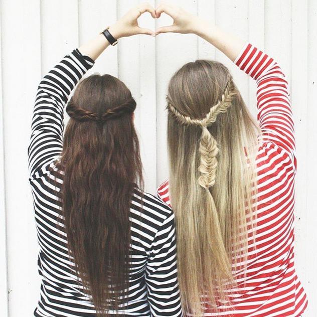 half up sister braids