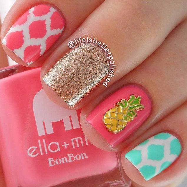 2 Cute Summer Nail Designs. pineapple charm nail art design - 2 Cute Summer Nail Designs