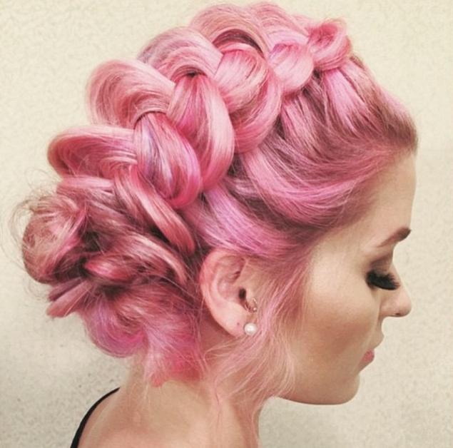 pink braided updo
