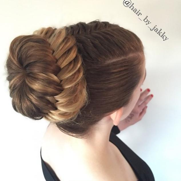 French fishtail pullback into a laced fishtail braided bun