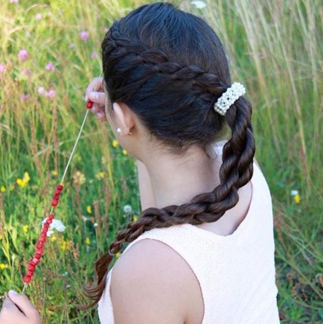 Laced four strand into a chain braid #katharina_braids
