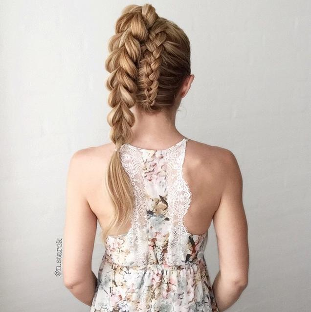 Upside down dutch braid into Pull-through braid