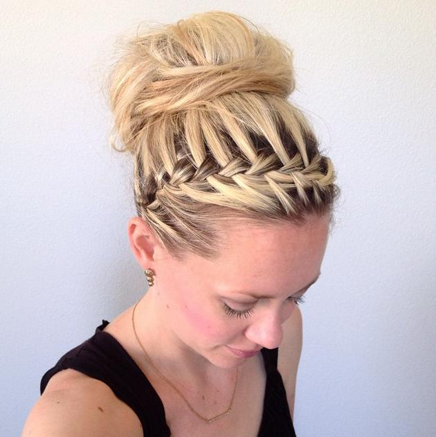 Waterfall headband braid into a messy bun