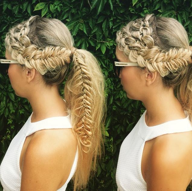 crown braid into braided ponytail
