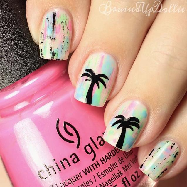 neon palm tree nails - Fun Summer Nail Designs
