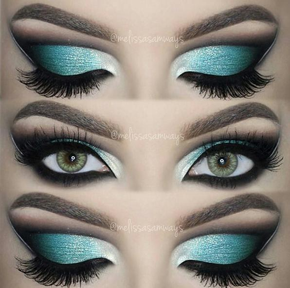 Dramatic Aqua Blue Cut Crease!