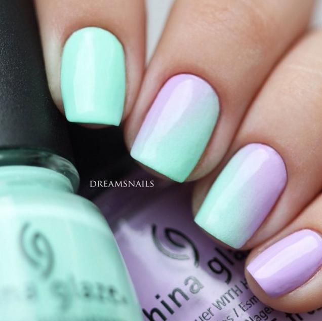 How pretty is this subtle pastel gradient by @dreamsnails using 'Highlight of My Summer' and 'Lotus Begin'